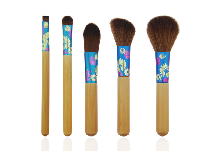 Printing Flower On Travel Makeup Brush Set Aluminum Ferrule Attractive Packaging