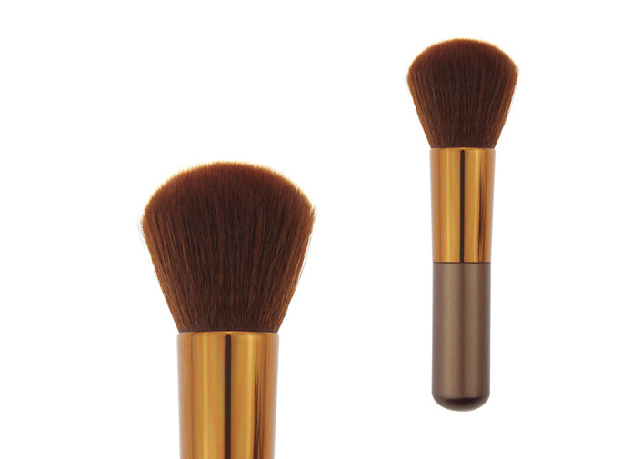 Shorted Wooden Handle Contour Blush Brush With 31mm Brown Nylon Hair