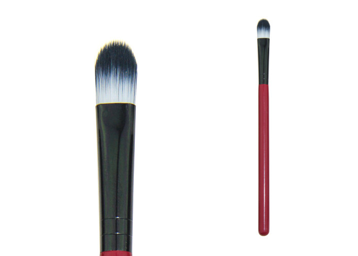 Nylon Hair Concealer Blending Brush With Red Wood Handle And Black Ferrule