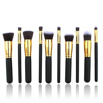 Black Non - Discolouring Pro Makeup Brushes Not Fall Hair Alum. Pipe
