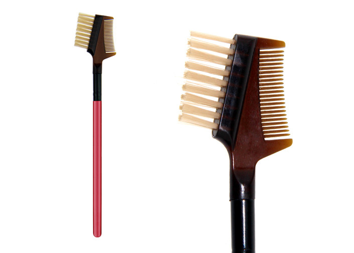 Professional Private Label Eye Brow Brush Comb With Wooden Handle , Dual Ended