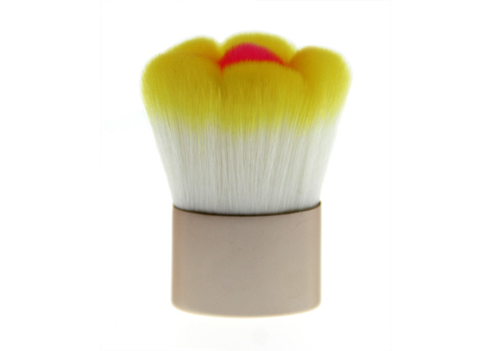 Eco Friendly Flower Kabuki Makeup Brush / Powder Blush Brush With Metal Handle